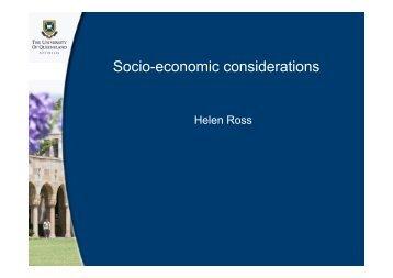 Socio-economic considerations