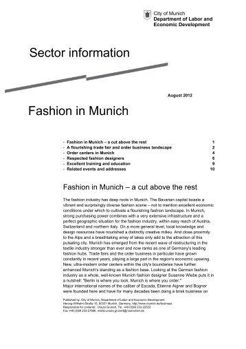 Sector information Fashion in Munich - Referat für Arbeit und ...