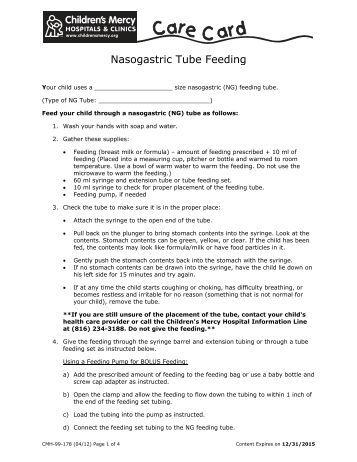 ng tube feeding instructions