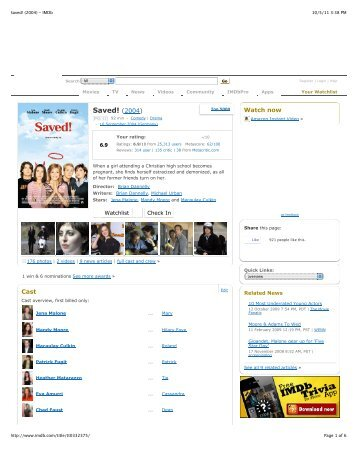 Saved! (2004) - IMDb - ODEC Home