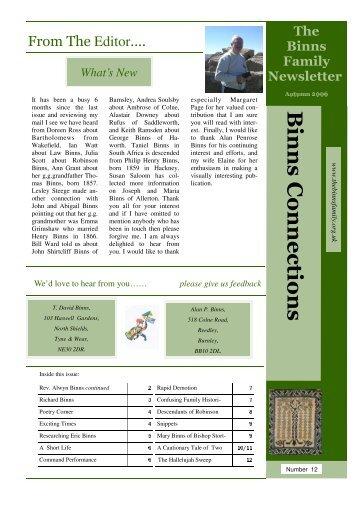 News Letter 12 Final - The Binns Family