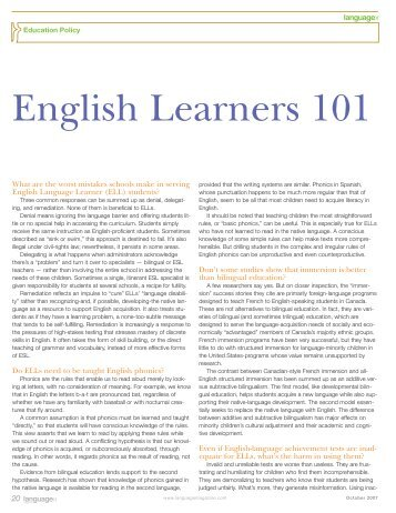 an introduction to the ell or english language learners Introduction the michigan english language  reflects a culture different from that of the ell  outcomes for english language learners at different levels.