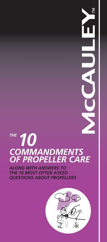 commandments of propeller care - McCauley Propeller Systems