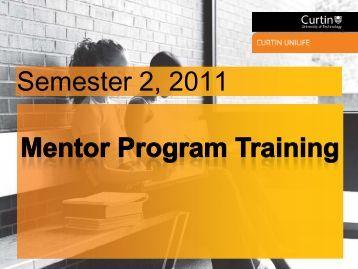 Mentor Program Training - Unilife - Curtin University
