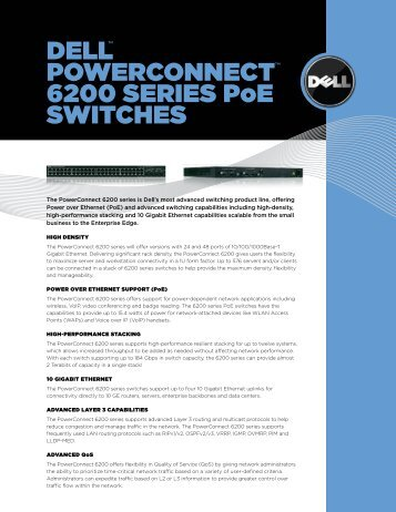 DELL™ POWERCONNECT™ 6200 SERIES PoE SWITCHES