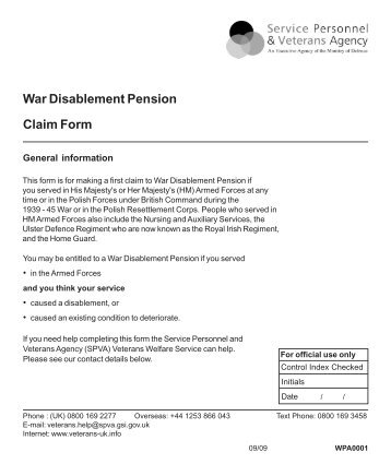 War Disablement Pension Claim Form - Veterans Agency