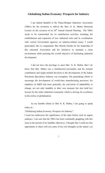 Prospects for Industry - Dr. Narendra Jadhav
