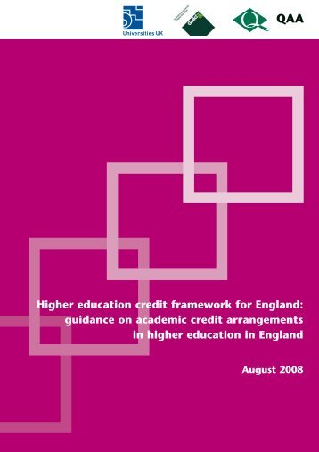 Higher education credit framework for England - The Quality ...