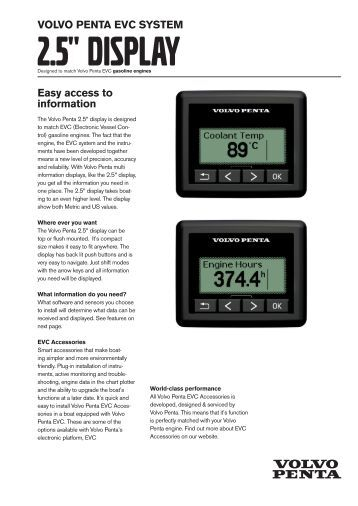 VOLVO PENTA EVC SYSTEM See data from two engines at the