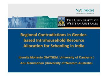 Regional Contradictions in Gender - NATSEM - University of Canberra