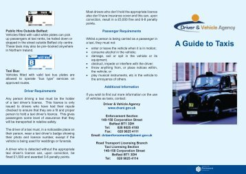 A guide to Taxis (PDF 1MB) - Driver and Vehicle Agency