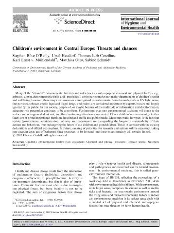 Children's environment in Central Europe: Threats and ... - WECF