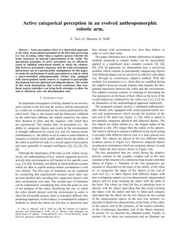 Active categorical perception in an evolved anthropomorphic robotic ...