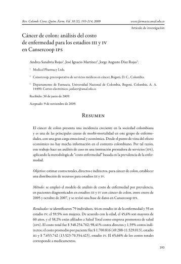 análisis del costo de enfermedad para los estadios iii y iv en ...