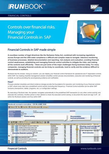 Managing your Financial Controls in SAP. Learn more - Runbook.com