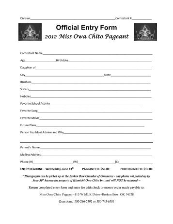 Official Entry Form - McCurtain County Getaways