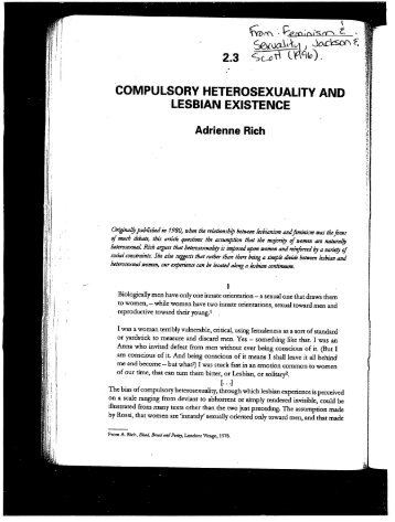 essays on compulsory heterosexuality Compulsory heterosexuality and lesbian existence is a 1980 essay by  adrienne rich,[1][2] which was also published in her 1986 book blood, bread,  and.