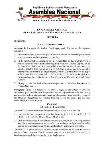 Ley de Timbre Fiscal - Servicio Autónomo de Contraloría Sanitaria