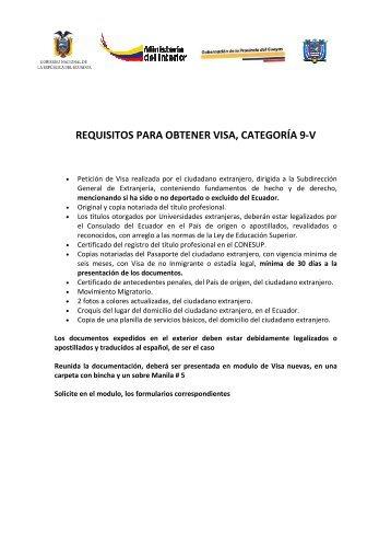 requisitos para obtener visa, categoría 9 -v