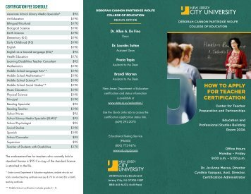 HoW To APPlY For teaCher CertifiCation - New Jersey City University