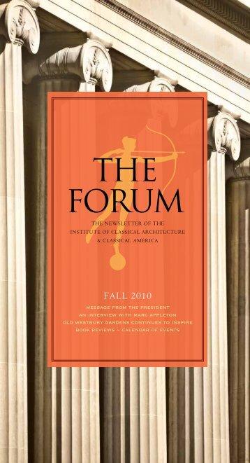 THE FORUM - Institute of Classical Architecture & Art