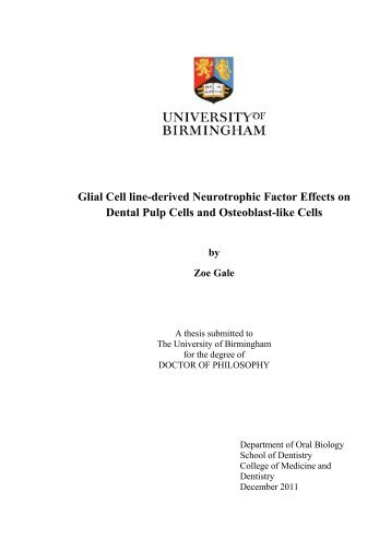 Glial Cell line-derived Neurotrophic Factor Effects on Dental Pulp ...