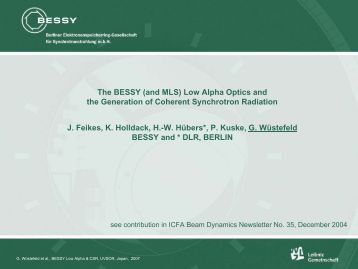 the BESSY Low Alpha Optics