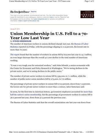 Union Membership in U.S. Fell to a 70- Year Low Last Year