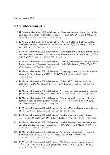FIAS Publications 2012 - Frankfurt Institute for Advanced Studies