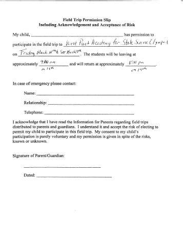 High school field trip permission slip