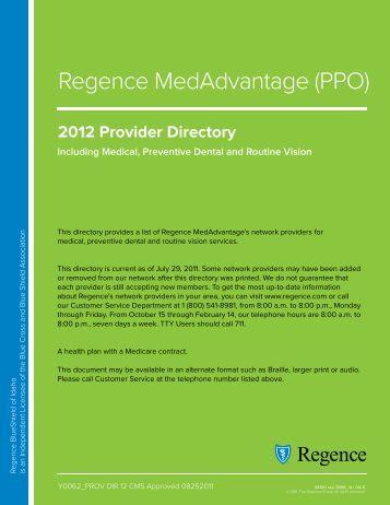 2012 Provider Directory - Regence