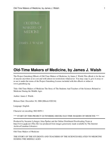Old-Time Makers of Medicine - The WikiPremed MCAT Course
