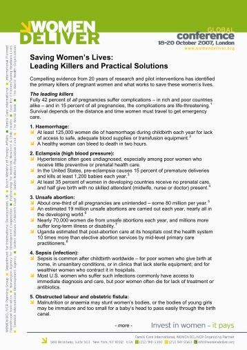Leading Killers and Practical Solutions - Women Deliver