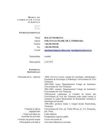 Lect. univ. dr. Mariana Balaci - CSIATIm - Universitatea de Vest din ...