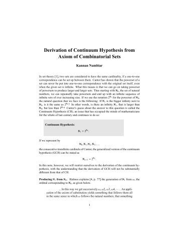 cantor continuum hypothesis Refutation of cantor's original continuum hypothesis via injection and binary trees  this is the briefest known such refutation of cantor's continuum conjecture.