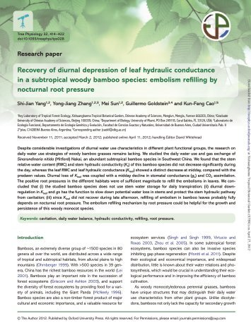 Research paper Recovery of diurnal depression of leaf hydraulic ...