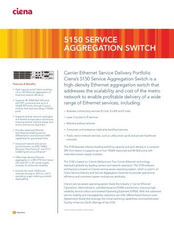 Ciena 5150 Service Aggregation Switch datasheet - LightRiver ...