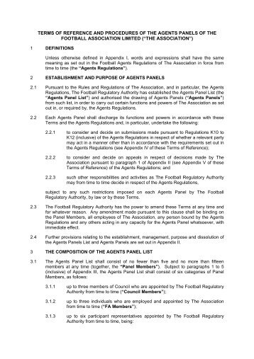 terms of reference and procedures of the agents panels of the ...