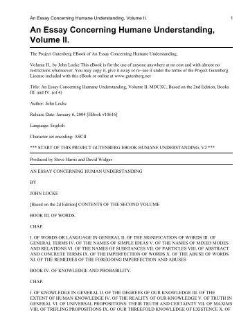 essay concerning human understanding locke text An essay concerning humane understanding  bibliographic record  author: locke, john, 1632-1704: title: an essay concerning humane understanding plain text utf-8.