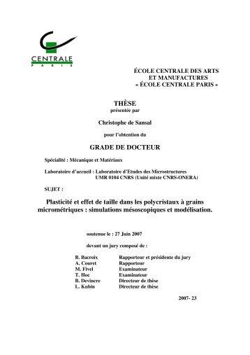 Ph.D. thesis, Ecole Centrale Paris, 2007. - Laboratoire d'Etude des ...