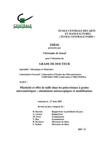 Ph.D. thesis, Ecole Centrale Paris, 2007. - Laboratoire d'Etude des ...