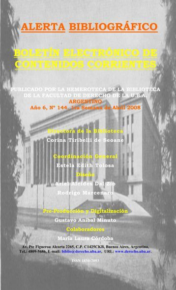 alerta bibliográfico - Facultad de Derecho - Universidad de Buenos ...