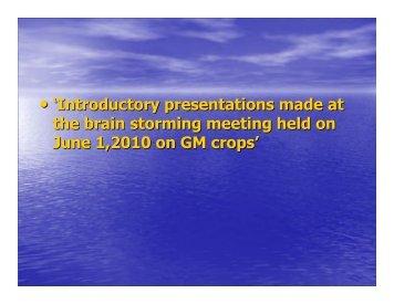 GM Crops Presentation - Indian Academy of Sciences