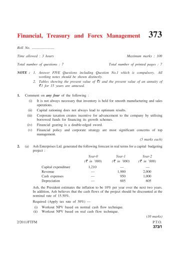 Financial, Treasury and Forex Management - cs notes