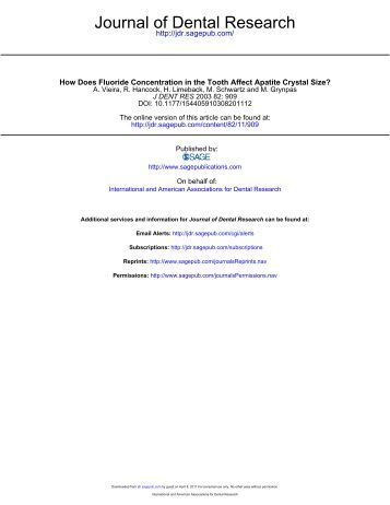 Journal of Dental Research - Washington Action for Safe Water