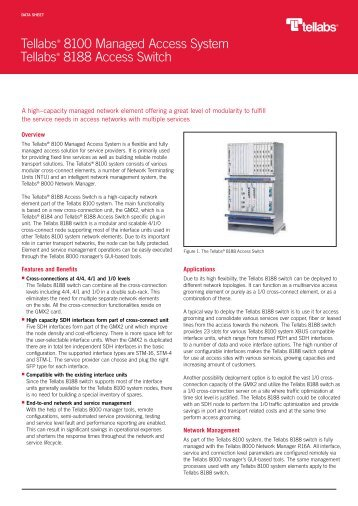 Tellabs 8100 Managed Access System: Tellabs 8188 Access Switch