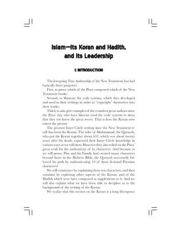 Islam—Its K Islam—Its Koran and Hadith, an and Hadith, and its ...