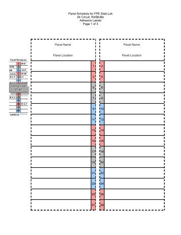 Electrical Panel Schedule For Fpe Stab Lok 40