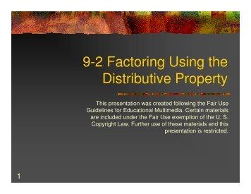 Factoring using distributive property worksheet