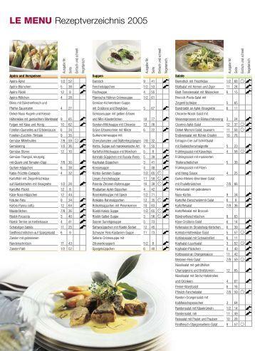 LE MENU Rezeptverzeichnis 2005
